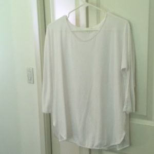 White 3/4 length sleeve t shirt